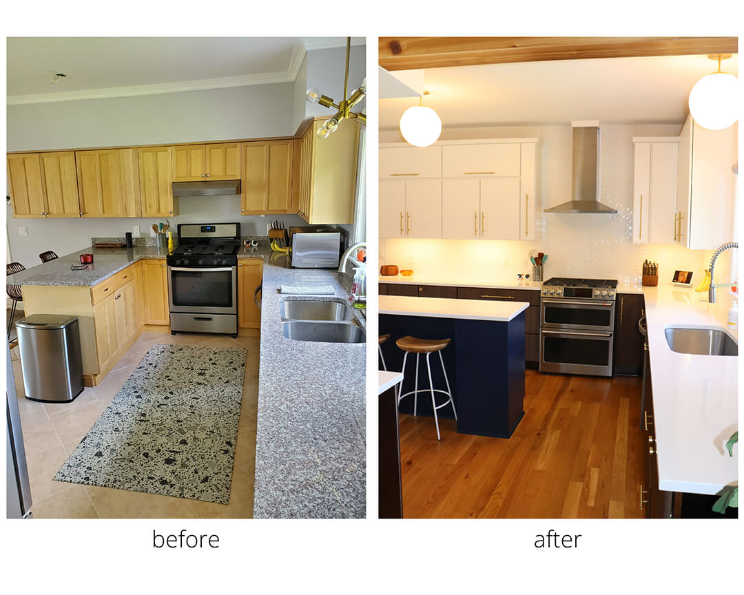 This customer wanted to turn their kitchen from bland and outdated to a vibrant, chic and mid-century modern dream kitchen. They chose to incorporate touches of bold colors, paired with a clean white and classic dark wood. This creates a wonderful sense of dimension, timelessness, and elegance. A goal of incorporating seating at the island was achieved along with a buffet/bar area added in the dining space! Perfect for entertaining and storage. The finishing touches which bring this project together are the gold hardware and beautiful shape selected for the backsplash tile.  Designer: Kami Buckwalter  Cabinetry: Legacy  Countertop: Vicostone Quartz
